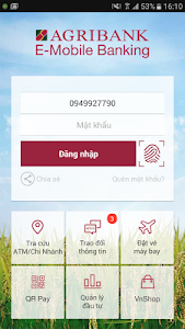 screenshot of Agribank E-Mobile Banking version 1.1