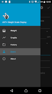 screenshot of ANT+ Weight Scale Display version 2.23