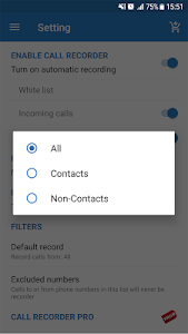 screenshot of Auto call recorder version 4.0