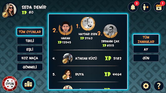 screenshot of Batak Online - Tekli, Eşli, Gömmeli İhaleli Batak version 1.9.1