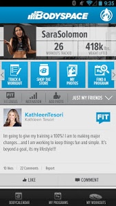 screenshot of BodySpace - Social Fitness App version 1.5.0.1.70372fa