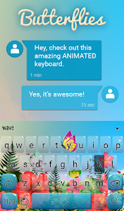 screenshot of Butterflies Animated Keyboard version 1.42