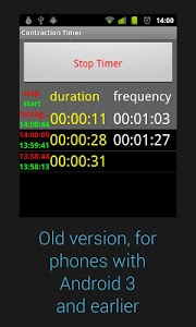 screenshot of Contraction Timer version Varies with device