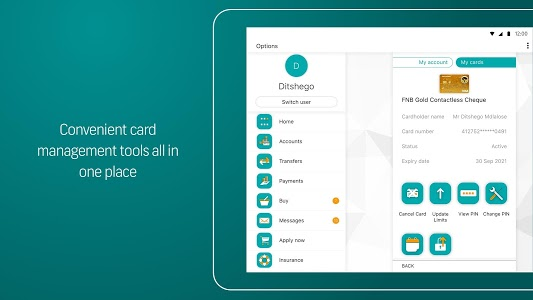 screenshot of FNB Banking App version 5.7.8-29 (39)