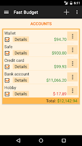 screenshot of Fast Budget - Expense Manager version 3.2.3