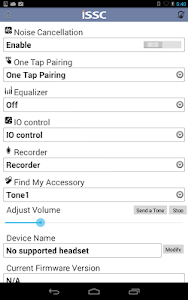 screenshot of ISSC Audio Widget version 1.17