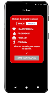 screenshot of InSec (Intelligent Security) - Personal Safety App version 1.1.8