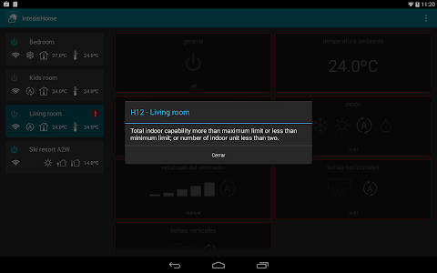 screenshot of IntesisHome version Varies with device