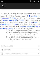 screenshot of Law Made Easy! Tort Law version 6.0