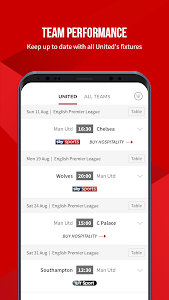 screenshot of Manchester United Official App version 6.12.0