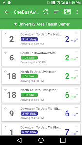 screenshot of OneBusAway version Varies with device