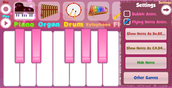 screenshot of Pink Piano version 1.7