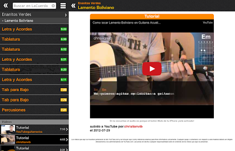 screenshot of Tabs & Chords in Spanish version 4.0