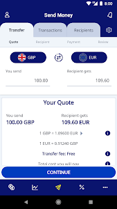 screenshot of XE Currency Converter & Money Transfers version 4.6.3